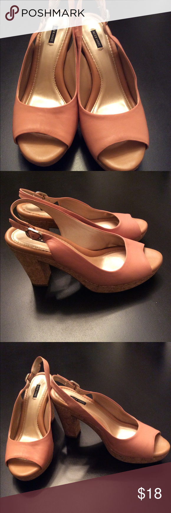Alex Marie:  Sling Back Peep Toe Heel Sandal Soft Leather Cork Heel Sandal.  The color is Salmon pink. It's a Sandal that can be worn for 8 hrs and your feel will not hurt. Great 👍🏾 to wear with just about anything in your closet. Good condition Alex Marie Shoes Sandals