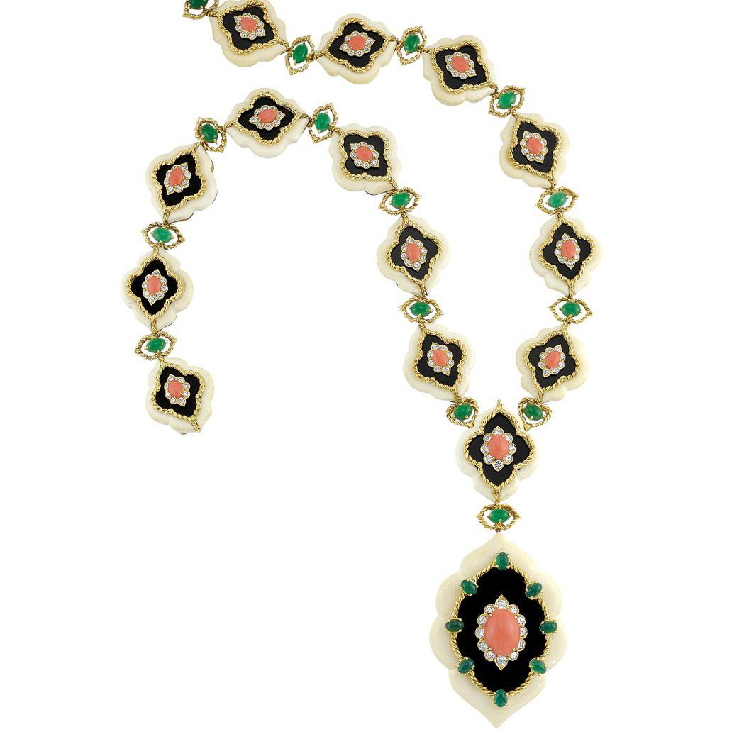 Lot 336 - Gold, White Hardstone, Coral, Diamond and Dyed Green Chalcedony Pendant Clip-Brooch Necklace, Van Cleef & Arpels