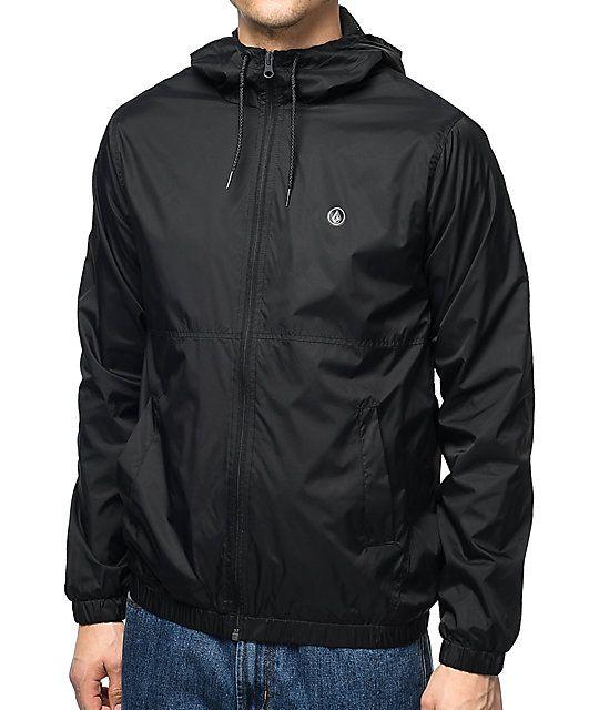 free shipping 8a915 dace6 Volcom Ermont Black Windbreaker Jacket
