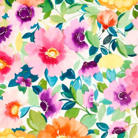 Pink Orange Floral Velvet Upholstery Fabric - Modern Teal Pink Floral Velvet for Furniture - Green Orange Floral Velvet Pillow Covers #velvetupholsteryfabric