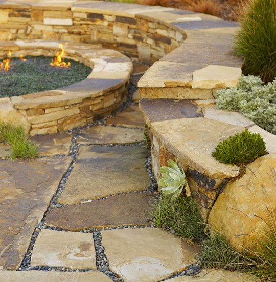 """, Contemporary Landscape With Beige Flagstone And Gravel Floor Also Comely Outdoor Fireplace: """"Draw"""" Your Path with Flagstone Flooring"""
