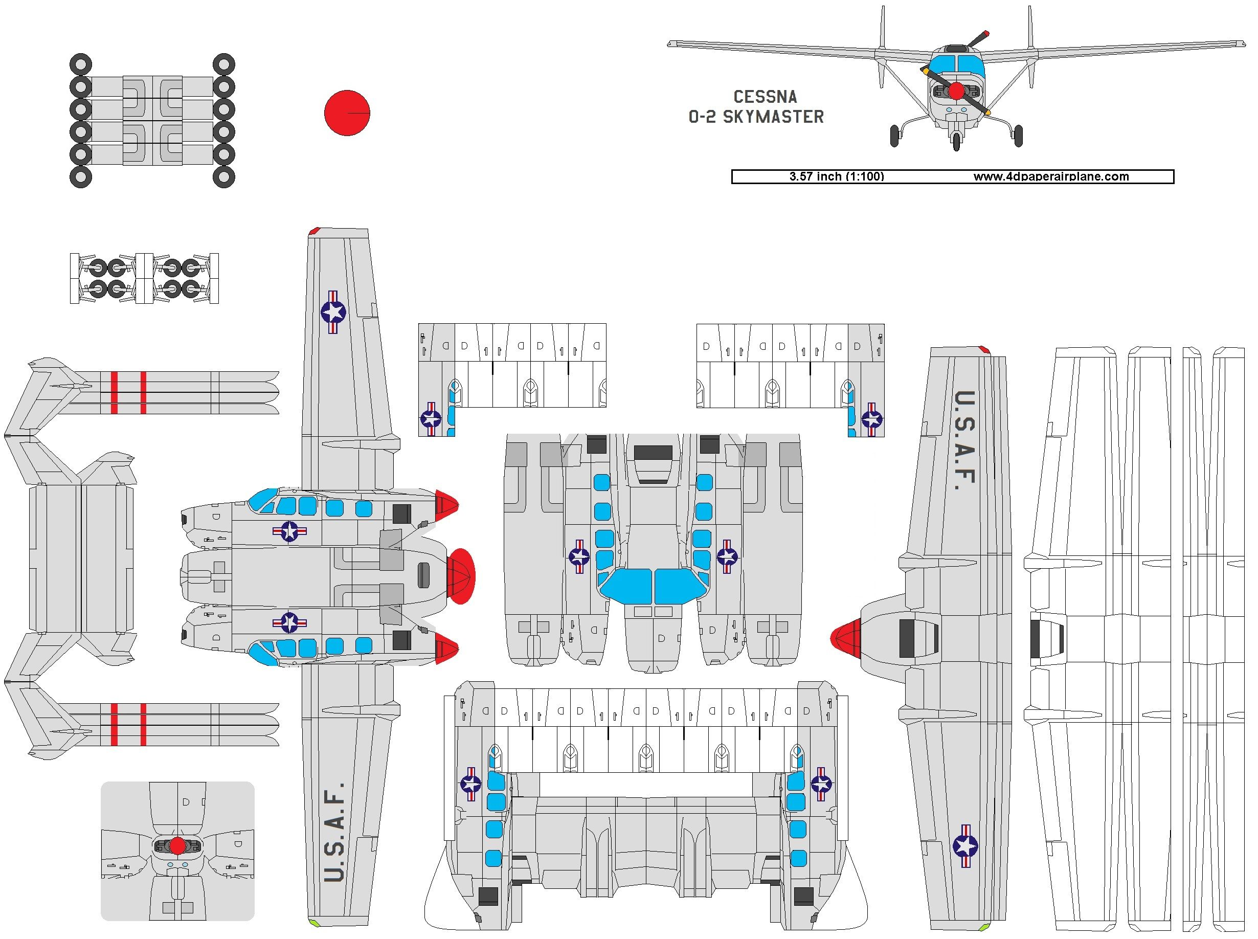 4d Model Of Cessna Skymaster Paper Aircraft Airplane Design