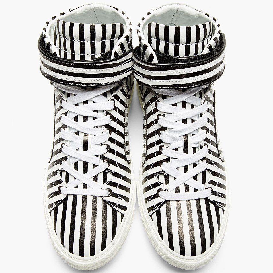 Black & White Stripe High-tops by Pierre Hardy - $765