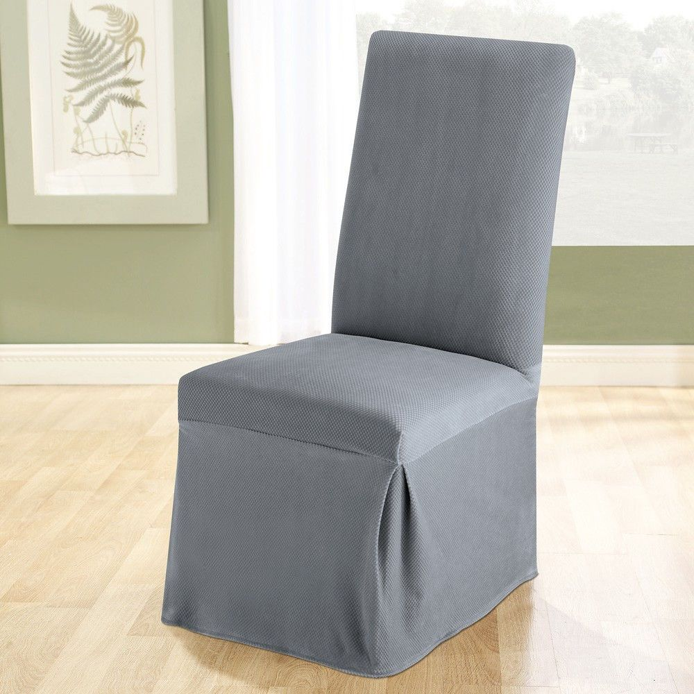 parsons cover in gray wayfair sure fit pique chair slip covers rh pinterest com Amazon Dining Chair Covers Dining Room Chairs Target