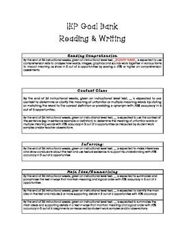 How To Write Iep Goals Guide For >> Iep Goal Bank Reading And Writing Classroom Ideas Iep Goals For