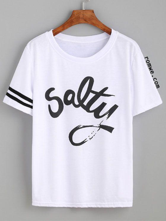 White Striped Trim Letters Print T-shirt | styln' | Shirts