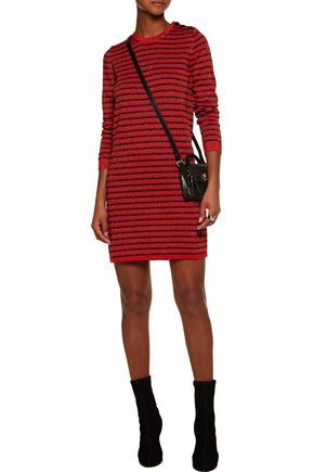 Carven Woman Glittered Striped Wool-blend Mini Dress Red Size S Carven