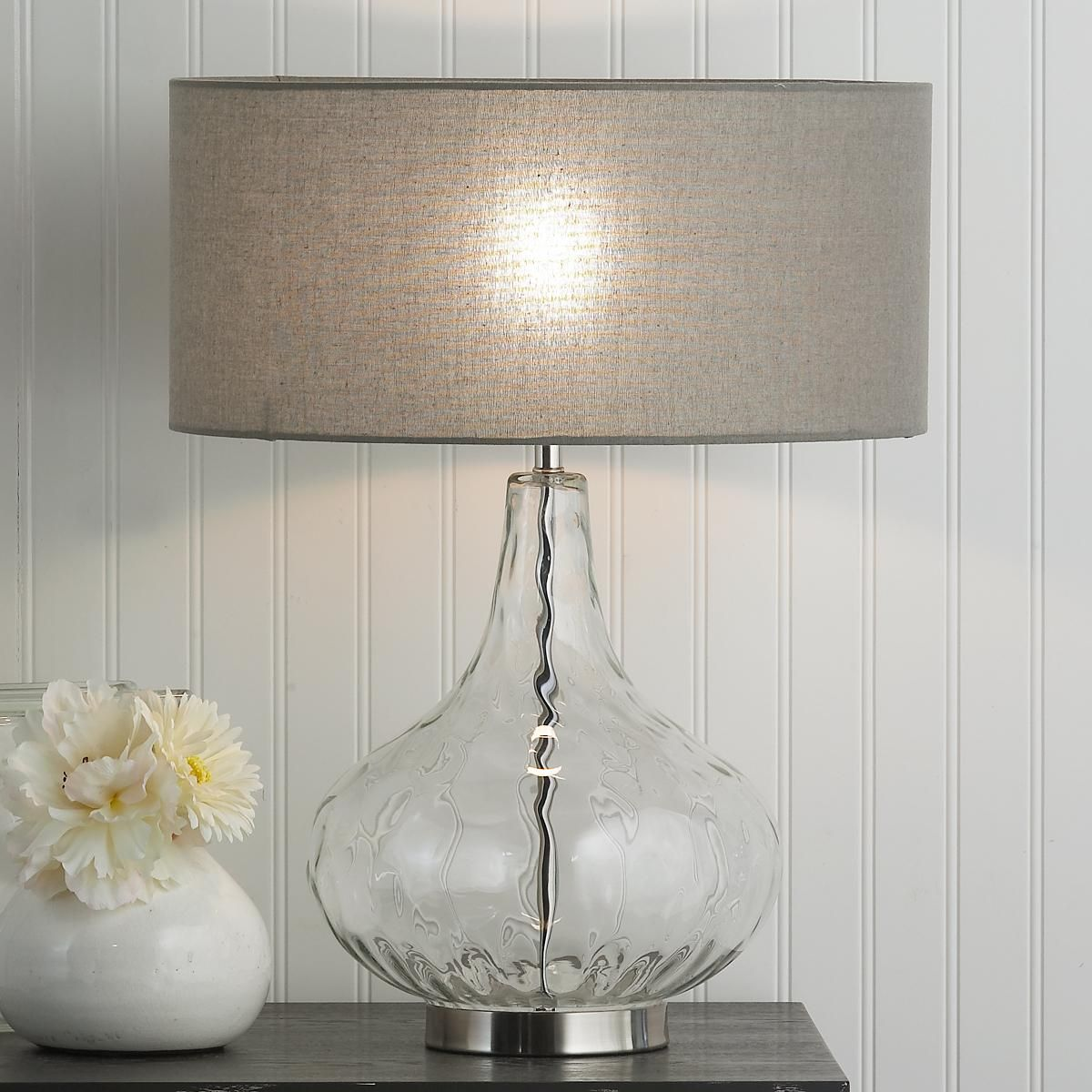 Rippled glass vase table lamp a rippled glass vase sits on a rippled glass vase table lamp a rippled glass vase sits on a polished chrome base and reviewsmspy