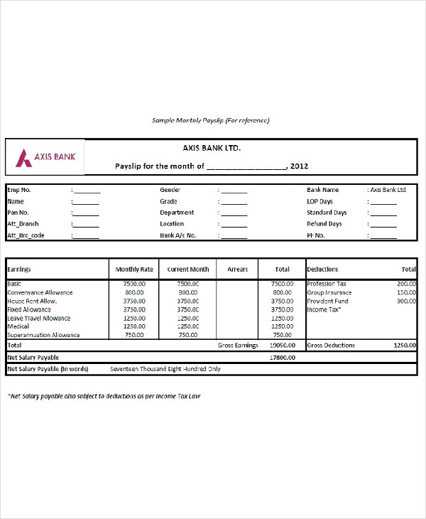 Salary Slip Templates 20 Ms Word Excel Formats Samples Forms Ms Word Salary Templates
