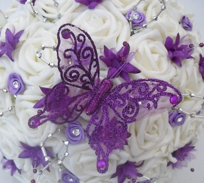 White Roses With Purple Butterfly Accents And Gems