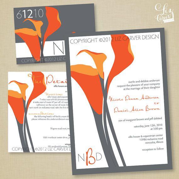 Items Similar To Orange, Coral U0026 Grey Calla Lilly Contemporary Wedding  Invitation On Etsy