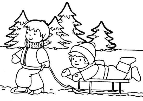 Two Child Playing Sky In Winter Coloring Page With Images