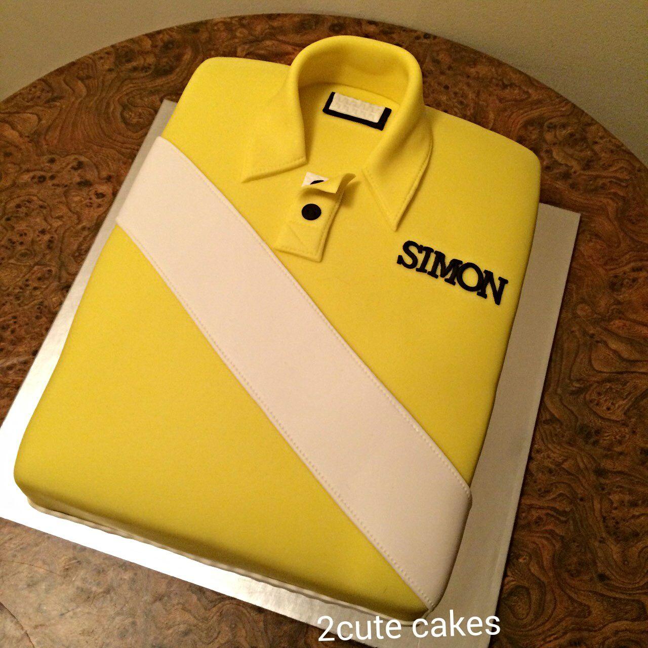 Mens Tshirt Cake Yellow And White Birthday Cake For A Man All - Birthday cake shirt