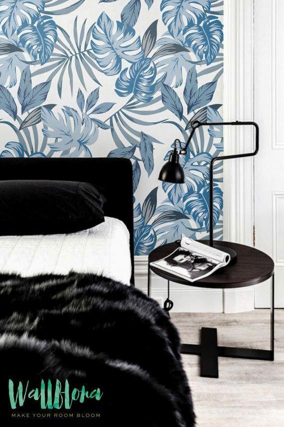 Blue Palm Leaves Peel And Stick Wallpaper Leaf Wallpaper Palm Leaf Wallpaper Wall Wallpaper
