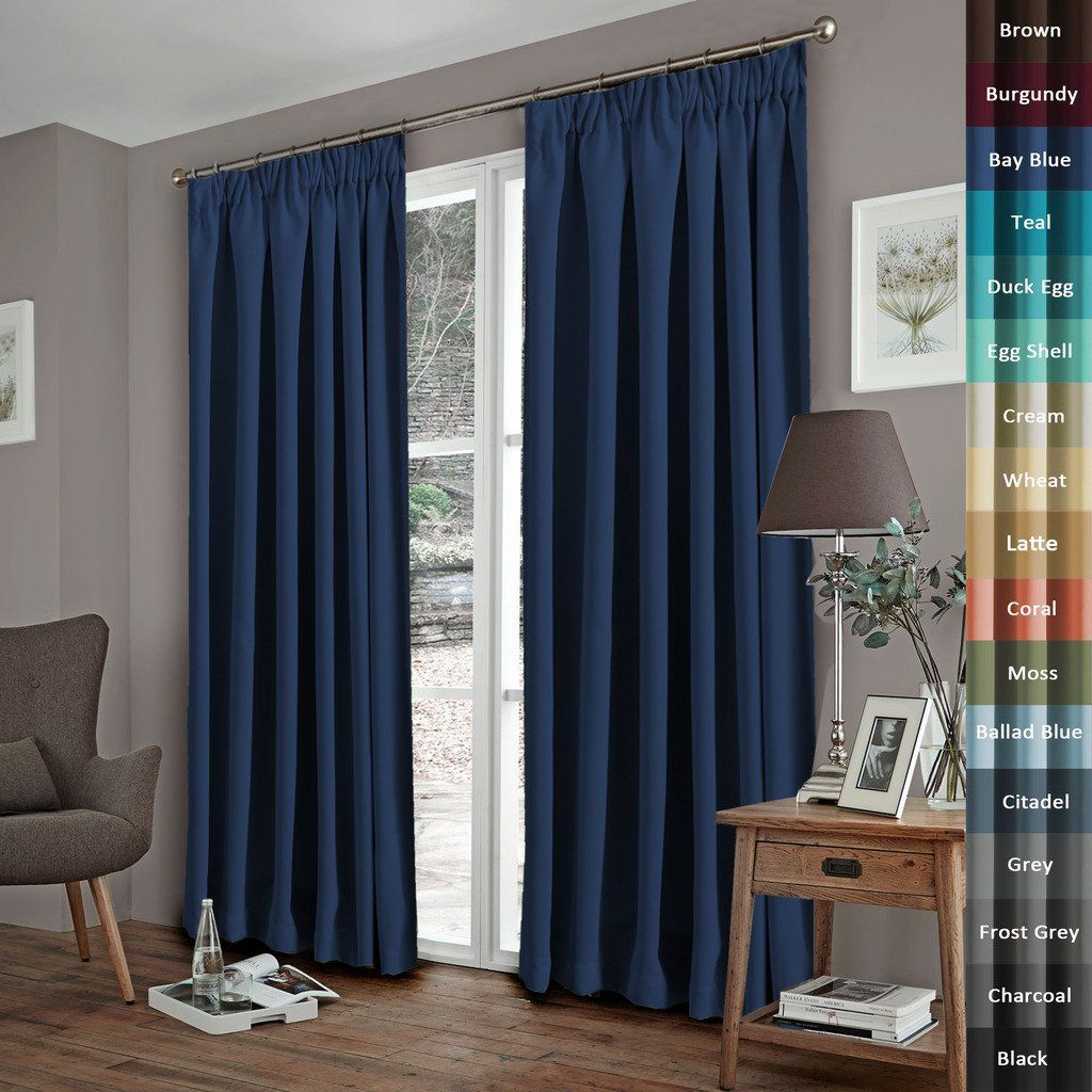 "H.Versailtex Solid Thermal Insulated Blackout Pencil Pleat Curtains for Bedroom with Two Matching Tiebacks - Bay, Warm Protecting & Noise Reducting, 46"" Width x 72"" Drop, Set of 2 pieces"