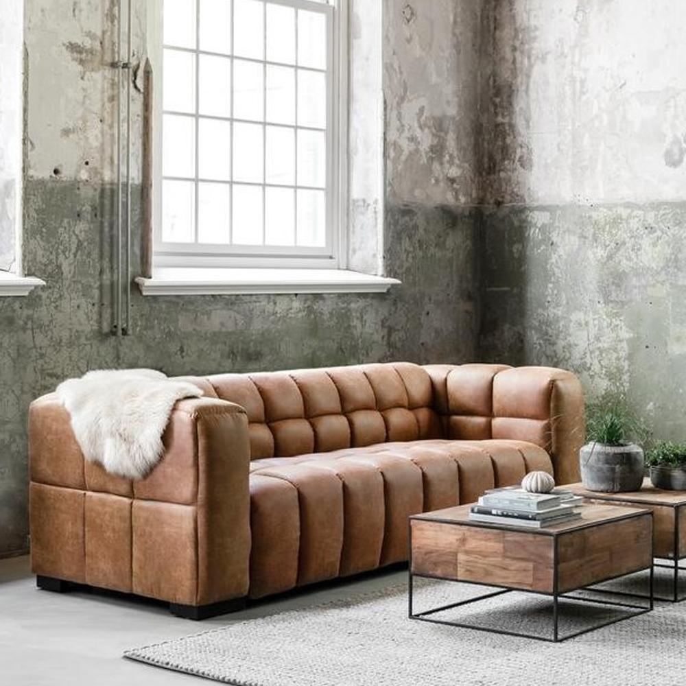 3 Sitzer Sofa Waves Leder Cognac Lounge Couch Garnitur 3 Sitzer Sofa Sofa Couch