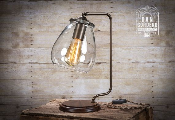 Gl Shade Edison Bulb Table Lamp By Dancordero On Etsy