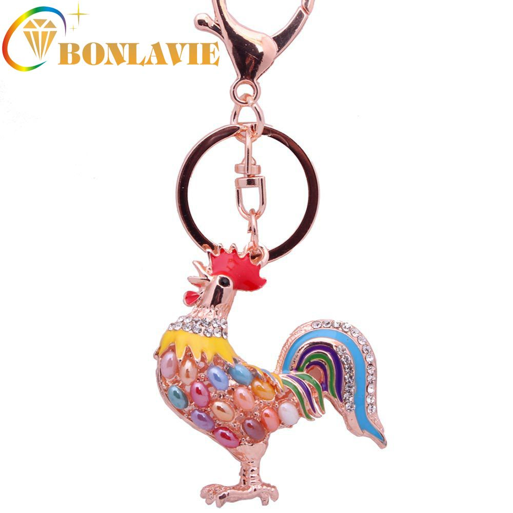 Rooster Cock Chicken Brooch Pin Multicolor Rhinestones Costume Badge Jewelry