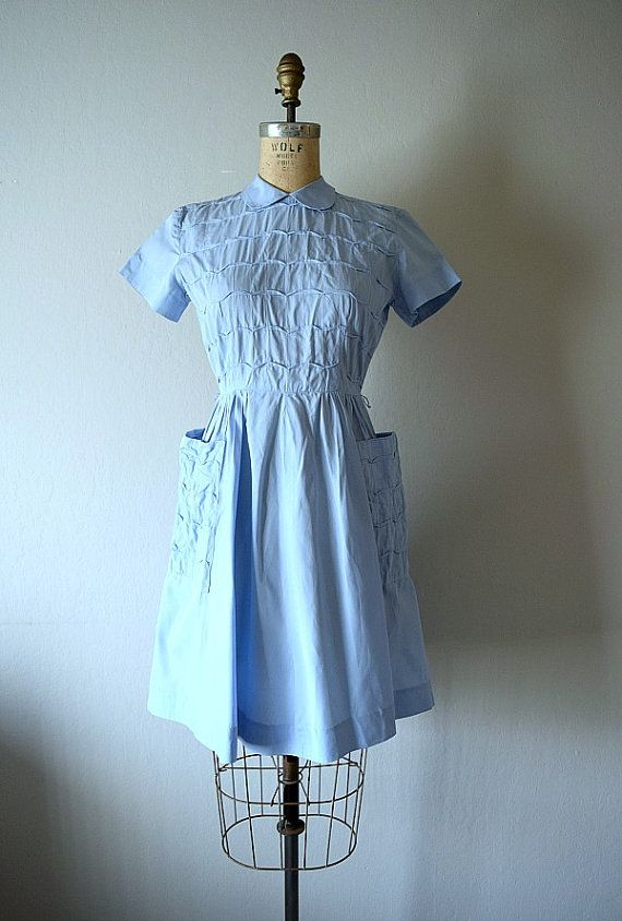 The Essential 1940s Style Blouse Vintage Frills: A Vintage 1940s Dress With A Small Collar, Side Hip Patch