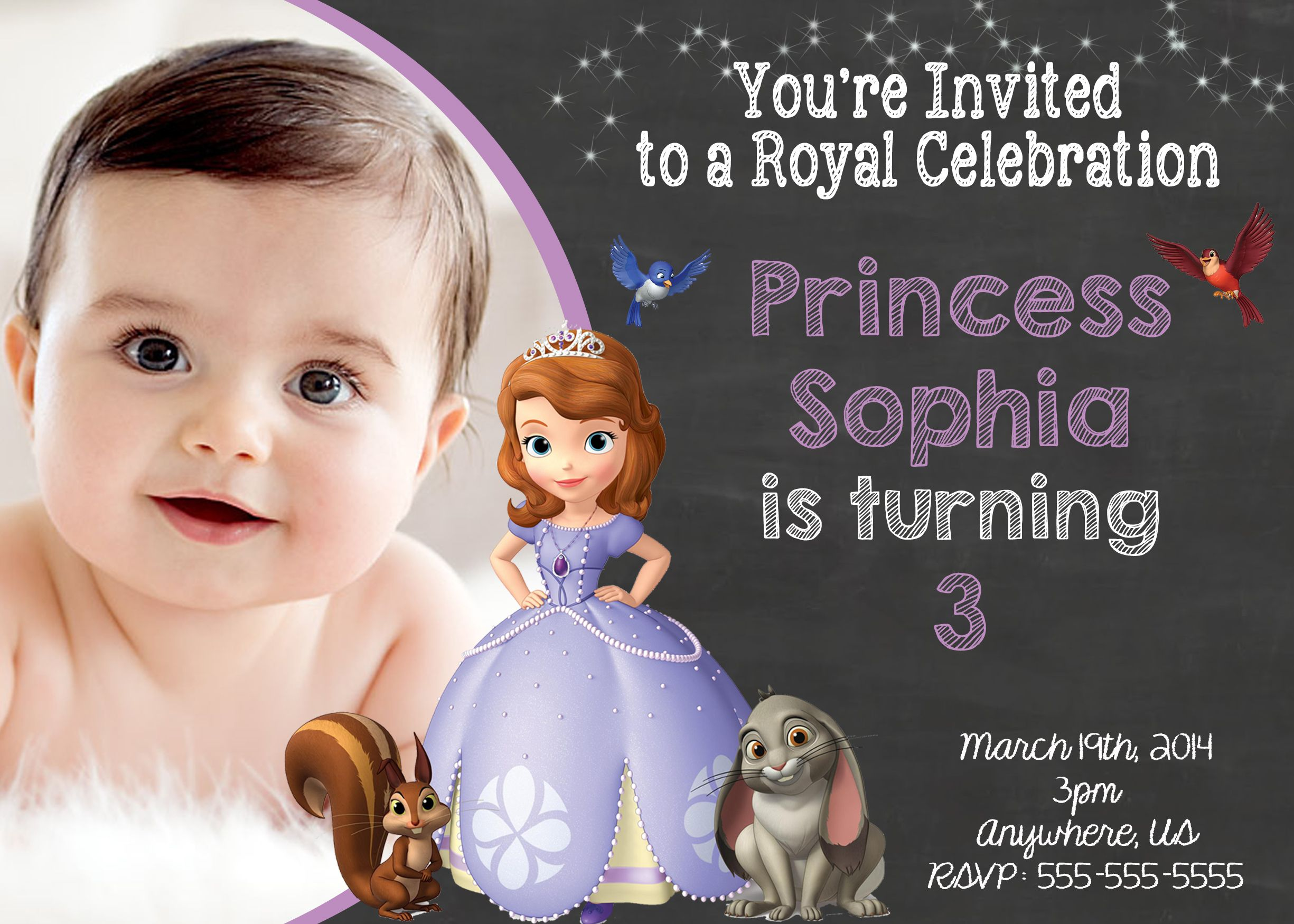 Chalkboard Sophia the First Birthday Invitation 8
