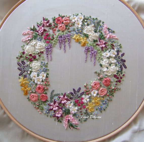 Silk Ribbon Embroidery - Large Garland - Full kit #garlandofflowers