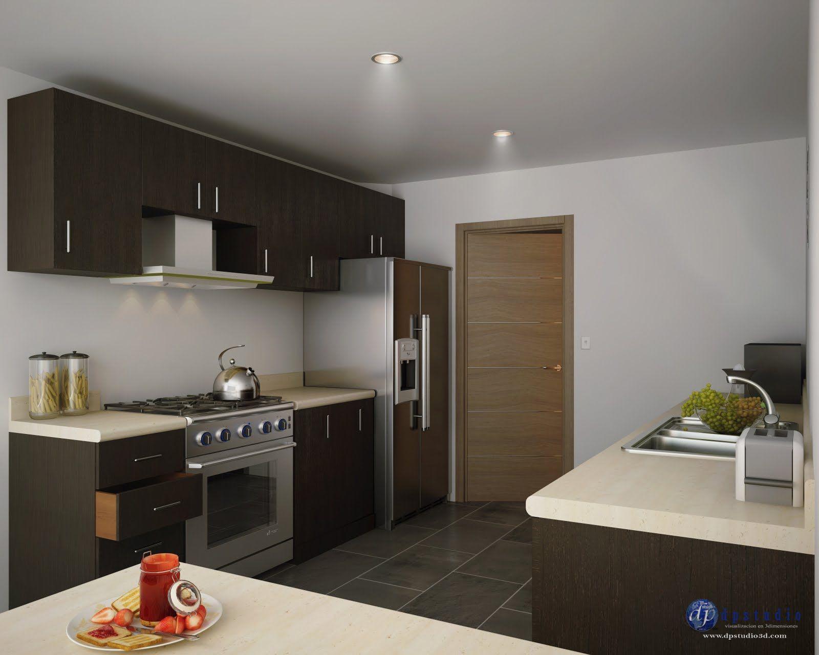 Vista interior cocina casa modelos renders interiores for Interiores de cocinas