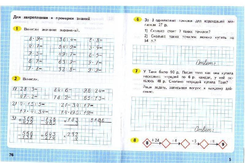 Готовые домашние задания по математике 4 класс школа россии