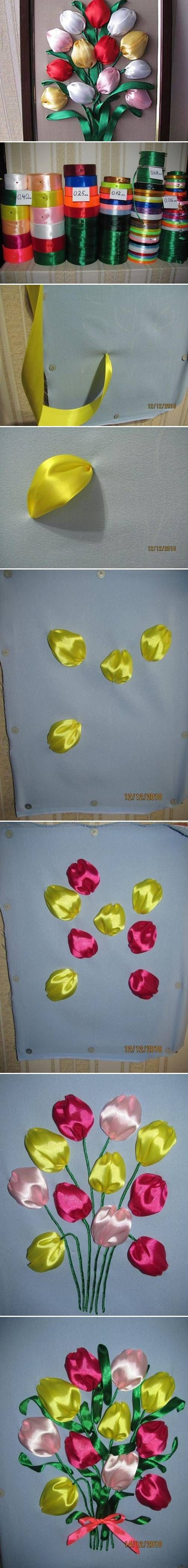 DIY coloridas da fita do cetim das tulipas 2