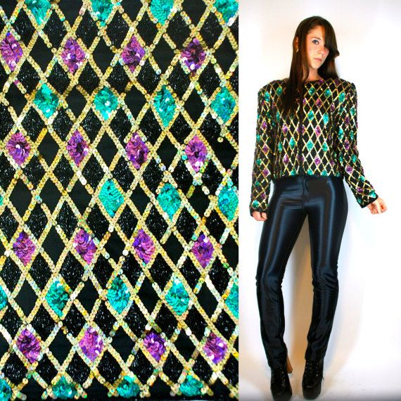 2fc954e10829f5 Vintage 80s ART DECO Harlequin hologram sequin by BluegrassVoodoo ...