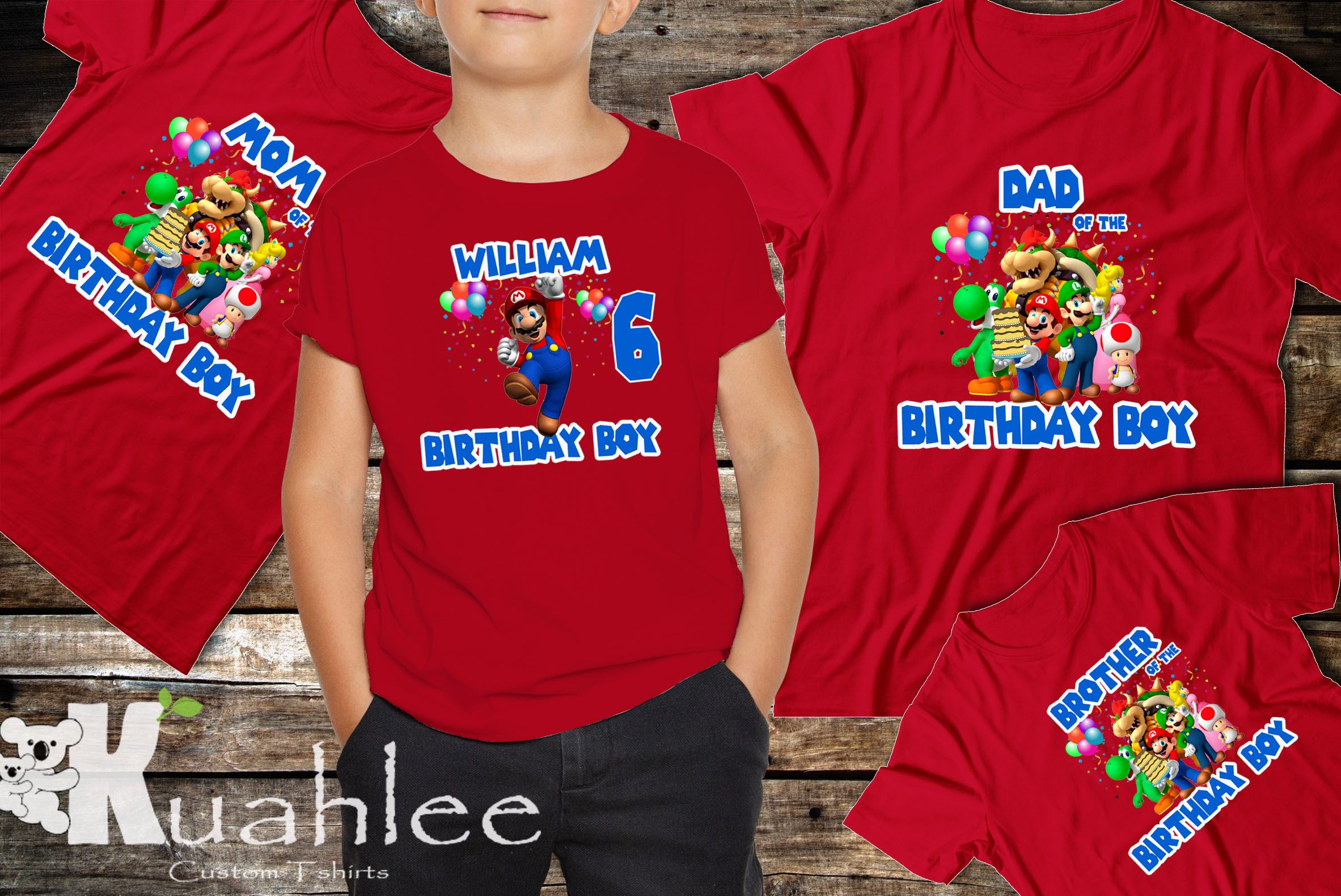 Super Mario Bros Birthday Party Shirt Super Mario Birthday Theme
