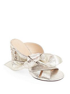 a9dc1291697 Chloé - Nellie Bow Metallic Leather   Crystal Block-Heel Slides ...