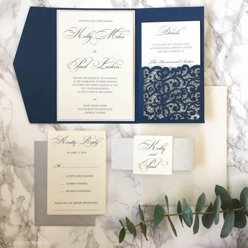 We are loving these Navy and Silver Wedding Invitations! Navy and Silver  Weddi… | Navy wedding invitations, Pocket wedding invitations, Classic wedding  invitations