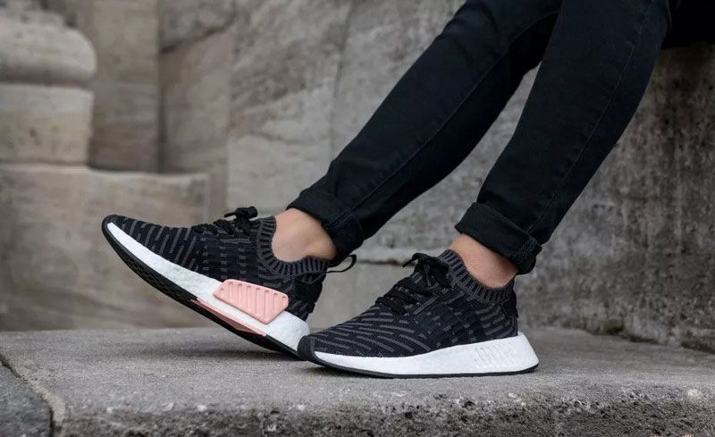 brand new 256a5 d5a6a Adidas Originals NMD R2 PK boost mens running shoes striped black pink  BA7239