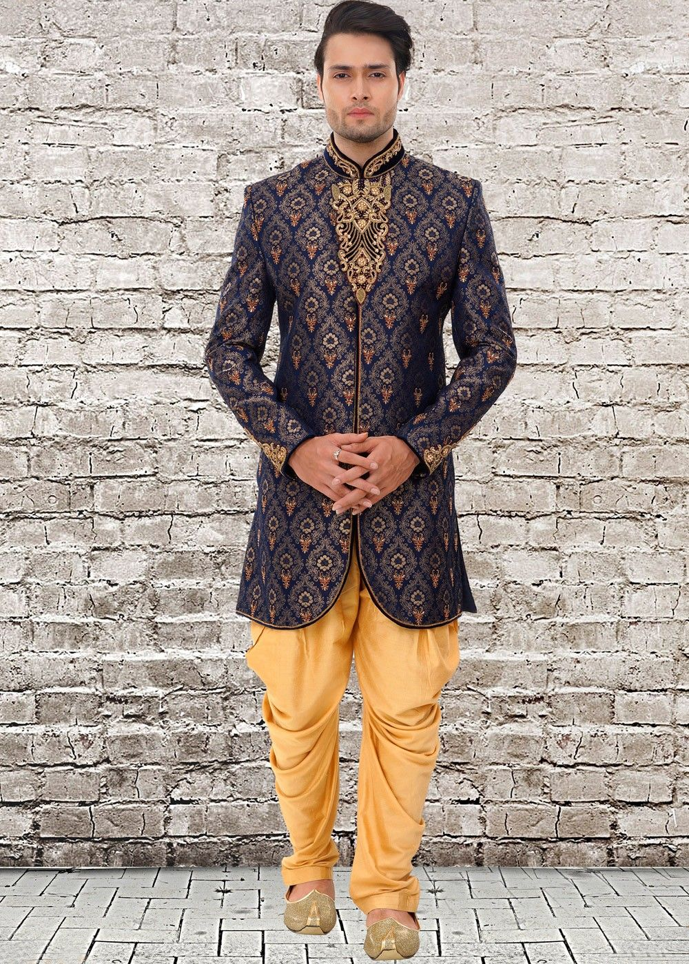 6d1605cf6ca2 ... Sherwani Online for Mens. Readymade dark #blue art #silk brocade #sherwani  with full length sleeves and #zari embroidered details.