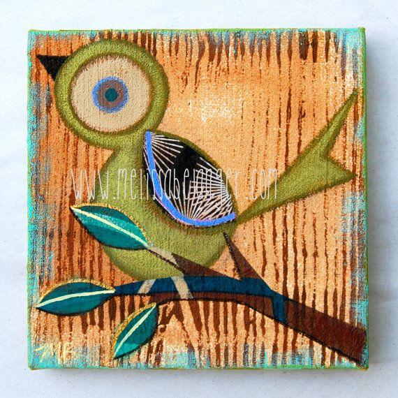 retro TWeeT painting chartreuse green 6x6 by MelissaBelangerArt, $58.00