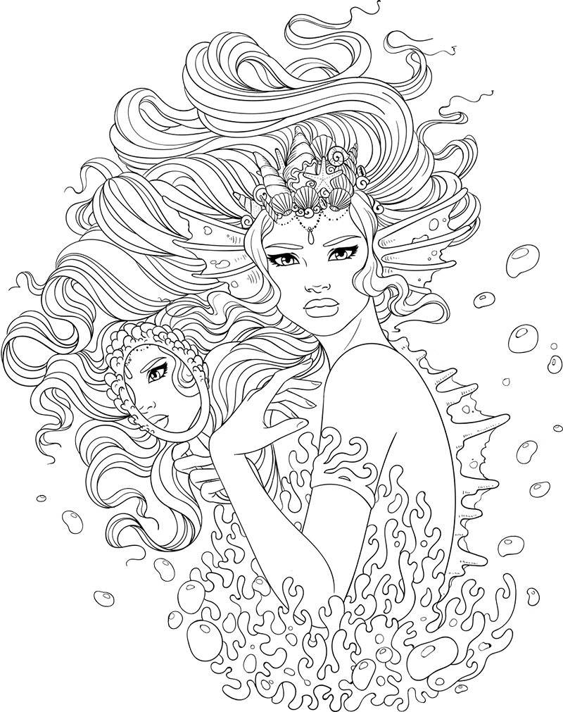 Stress relief coloring pages - Line Artsy Free Adult Coloring Page Sea Monster Uncolored