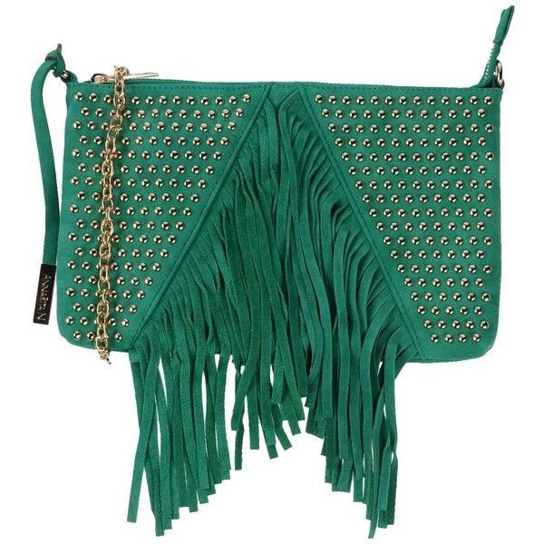 Annarita N. Handbag ($110) ❤ liked on Polyvore featuring bags, handbags, green, leather fringe purse, green leather purse, faux leather handbags, studded purse and fringe leather handbags