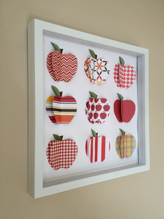 Red Apple 3d Paper Art 12x12 Shadow Box Frame By Paperline On Etsy
