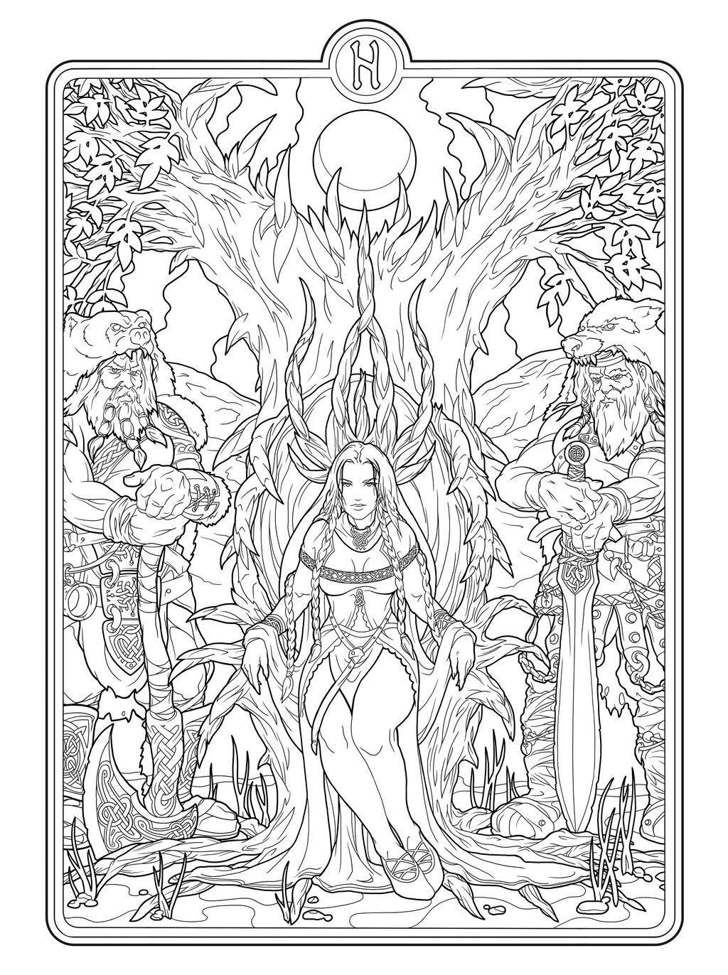 Helheim Goddess lines by deviantAshtarethdeviantart