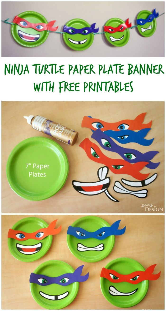 Ninja Turtle Paper Plate Banner with Free Printables | Tmnt party ...