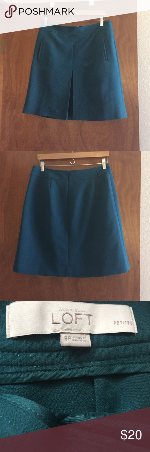 Loft teal Aline skirt 8petite This is gorgeous deep teal Aline skirt from Loft.  It zips up the back and has pockets!  It is an 8 petite.  This skirt looks good in the spring/summer with sandals and in the fall winter with tights. LOFT Skirts A-Line or Full