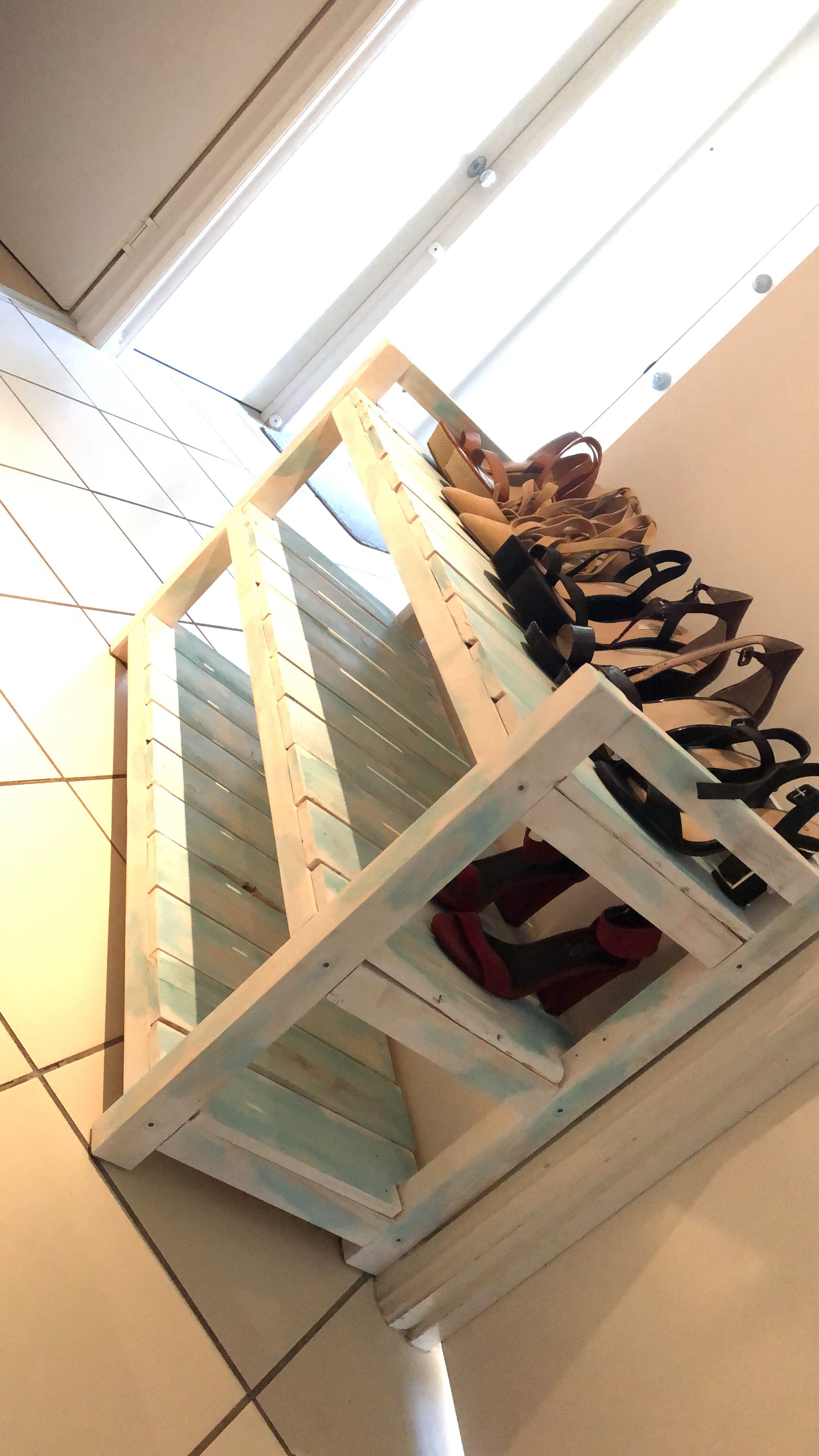 beachy shoe rack made from pallet wood shoe rack made on wood shoe rack diy simple id=20975