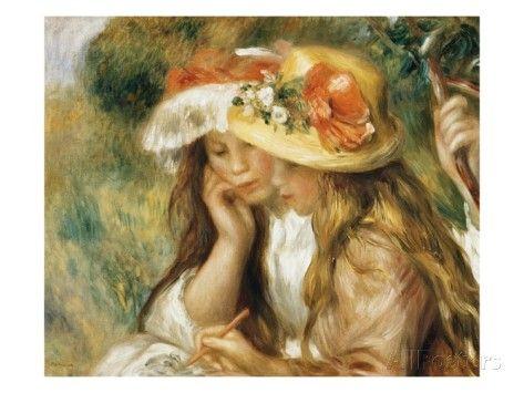 Two Girls Drawing Giclee Print Pierre Auguste Renoir Allposters Com Renoir Paintings Impressionist Art August Renoir