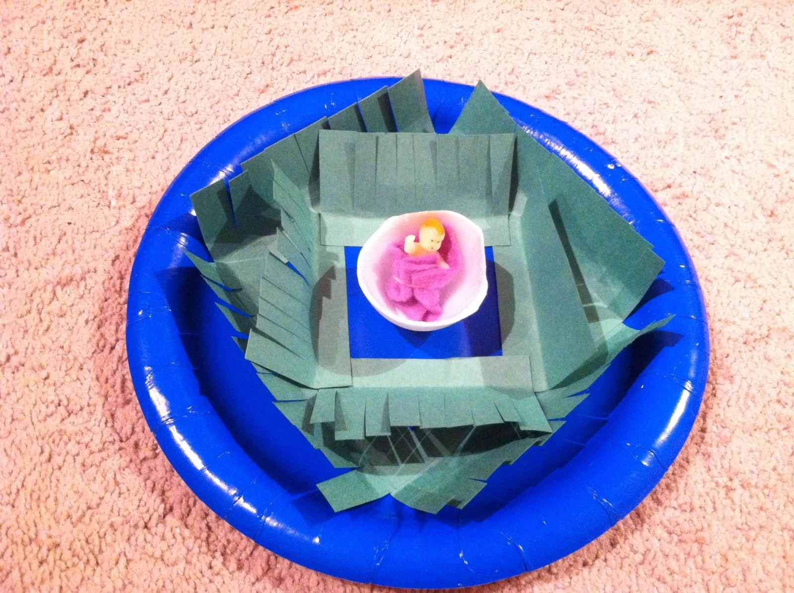 Baby Moses Craft Preschool Class Materials Used Blue Plastic Plate Green Construction Paper
