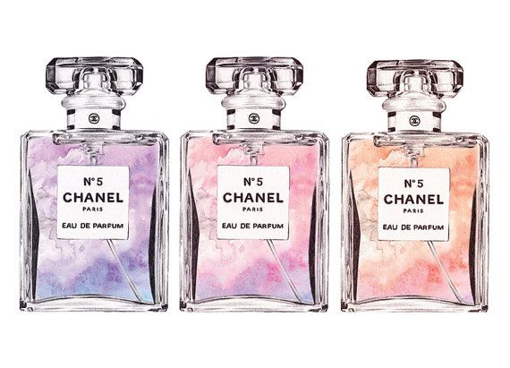 Photo of CHANEL No.5 'Triple' Perfume Print – Original watercolor print