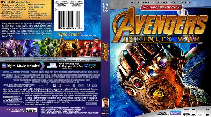 Avengers Infinity War 2018 Blu Ray Retail Cover Cover Design O Movie Avengers Infinity War