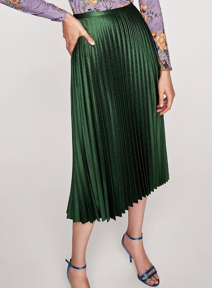 c3731f9987 Details about ZARA PLEATED MIDI GREEN SKIRT SIZE : S / M / L / XL ...
