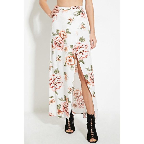 Forever 21 Women's  Floral Print Maxi Skirt (30 CAD) ❤ liked on Polyvore featuring skirts, asymmetrical skirt, asymmetrical maxi skirt, long slit skirt, white floral skirt and maxi skirt