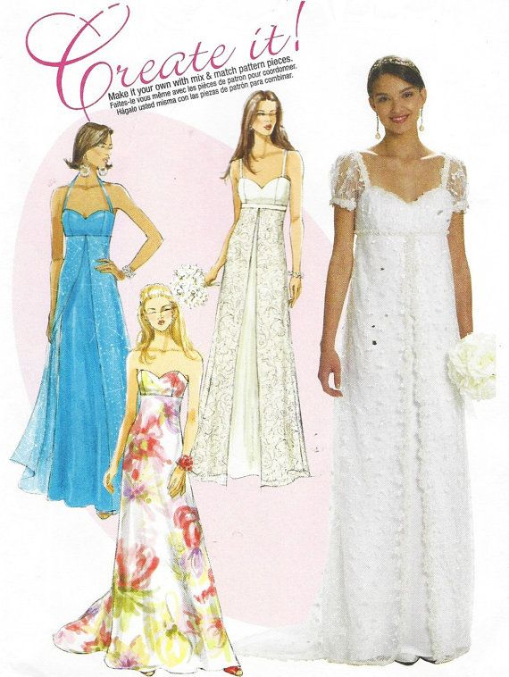 Womens Empire Waist Wedding Gown Mccalls Sewing Pattern M6030 Size 6