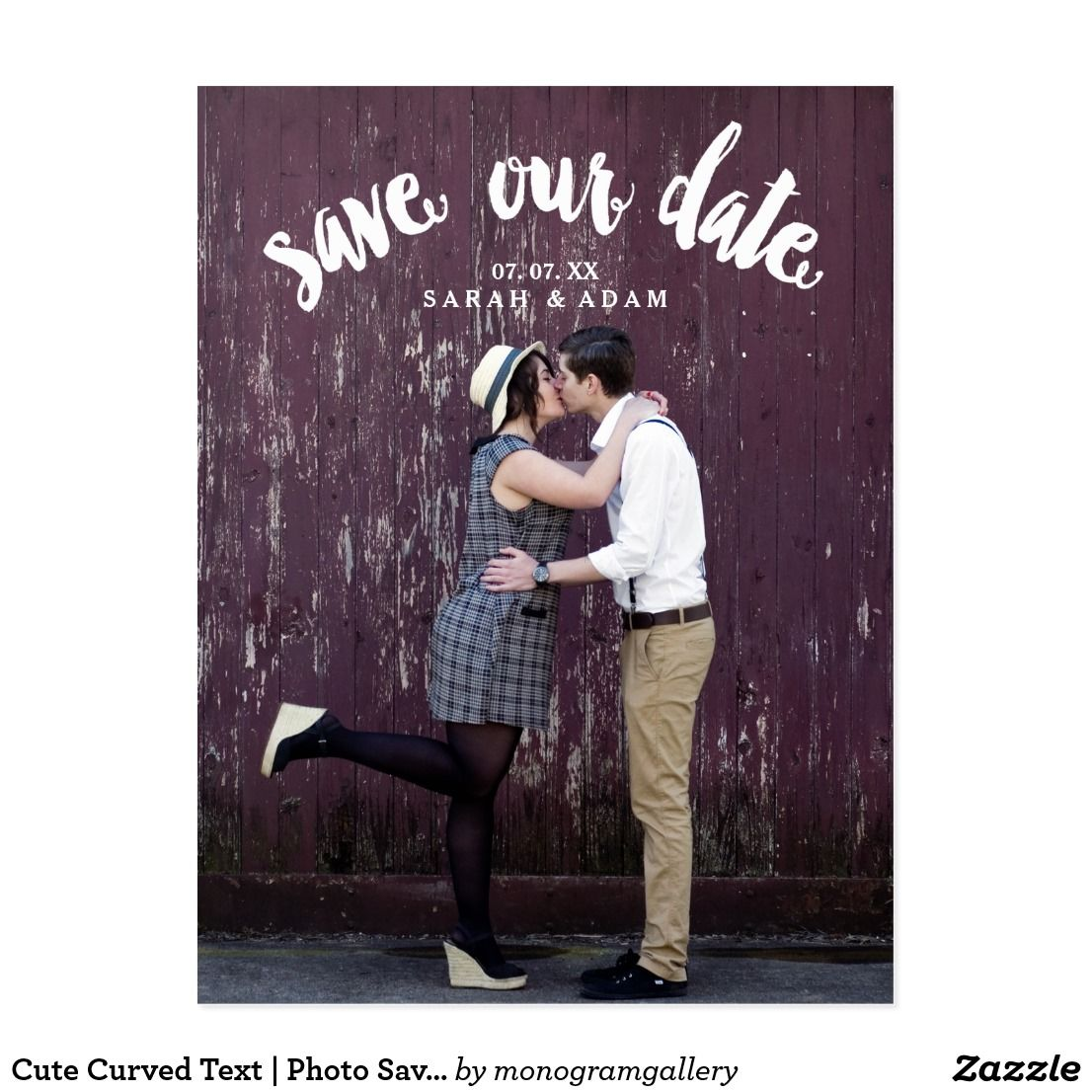 Cute curved text photo save the date postcard zazzle